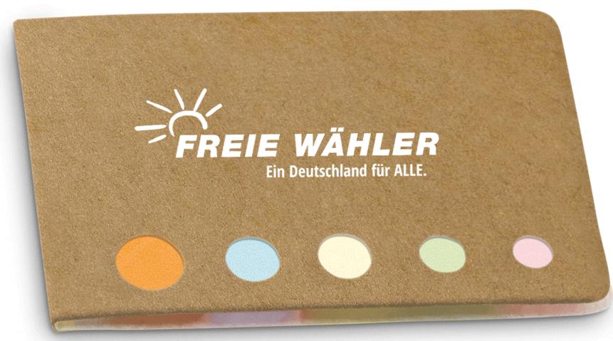 """Haftnotizen-Set mit Logo FREIE WÄHLER und """"Ein Deutschland für ALLE!"""""""