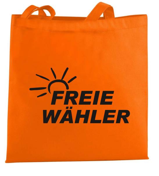 Non Woven Taschen, orange mit Aufdruck FREIE WÄHLER