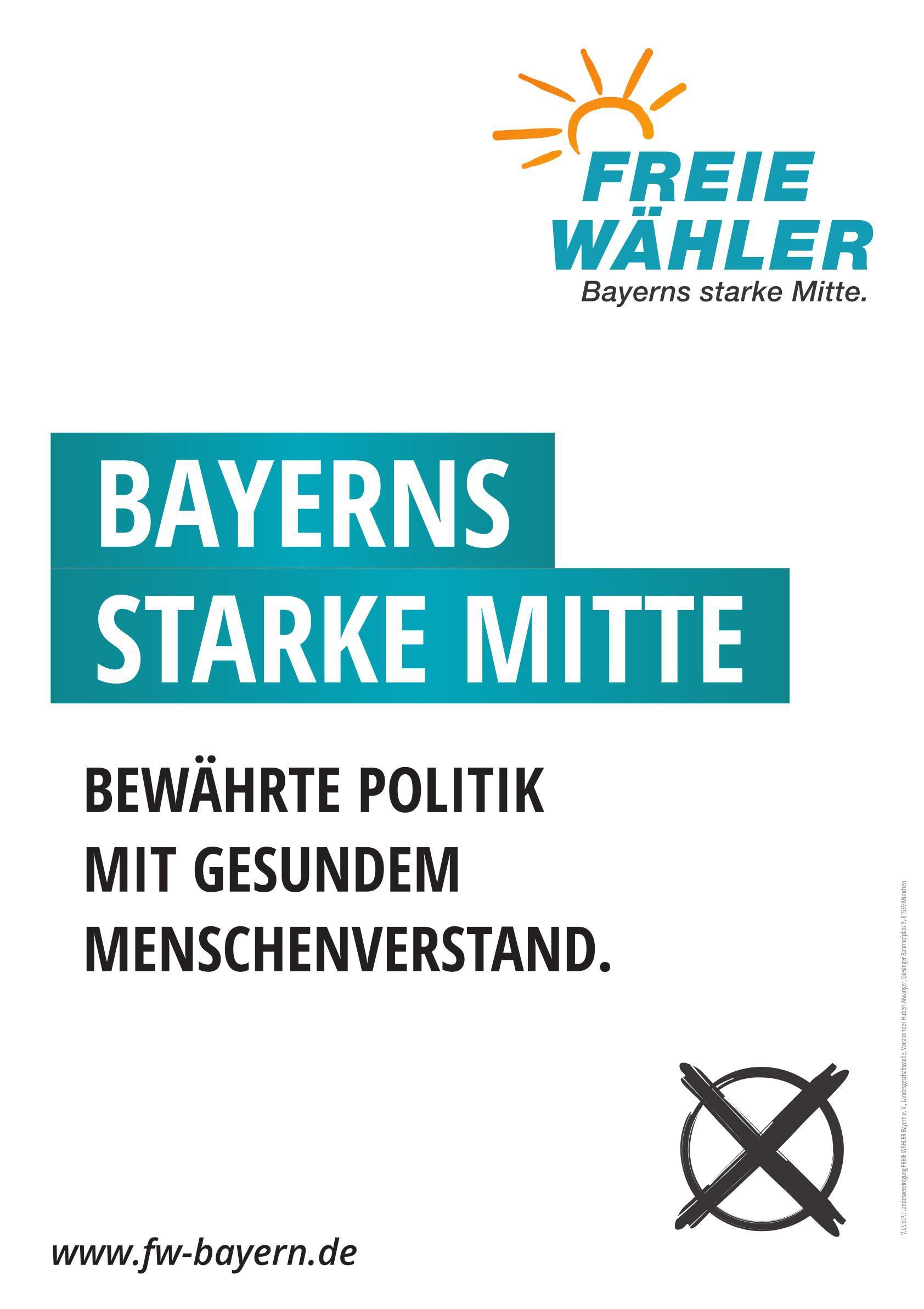 """Papierplakat """"Bayerns starke Mitte"""""""