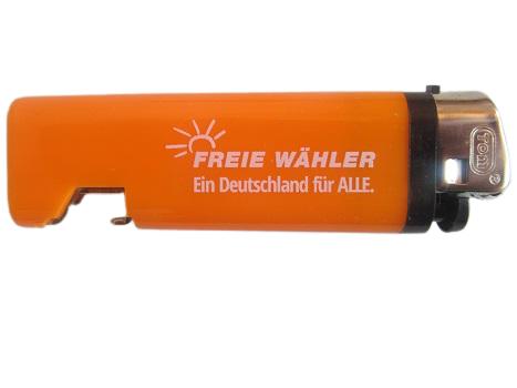 """Feuerzeug mit Flaschenöffner (orange)  FREIE WÄHLER """"Ein Deutschland für ALLE."""""""